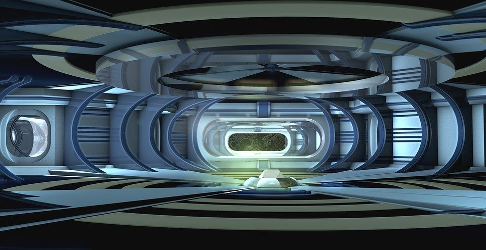 Free Illustration Spaceship Interior Stage Design