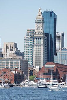 Tower, Clock, Boston, Custom House,
