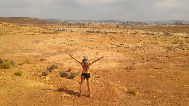 女性, 自然, ハイキング, 砂漠, 太陽, 勝利, アドベンチャー, 夏
