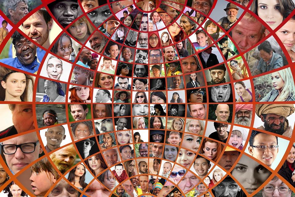 Fotomontage, Gesichter, Fotoalbum, Welt, Bevölkerung