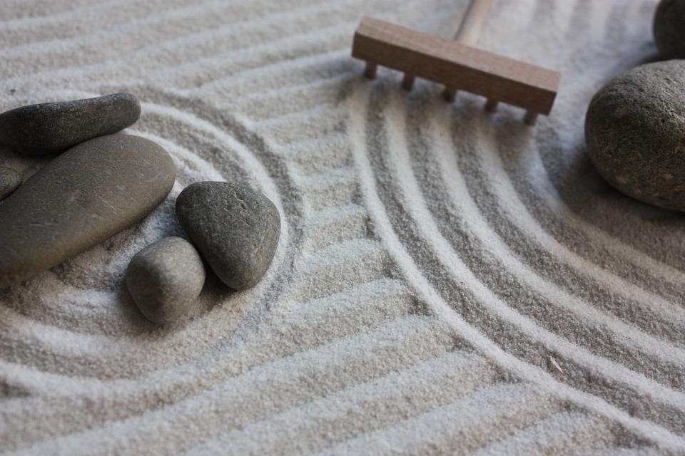Jardim, Zen, Areia, Brincar, Pedras, Japão