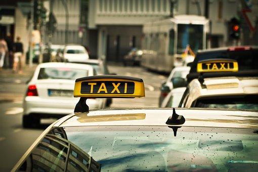 Taxi, Auto, Straße, Fahren, Schild
