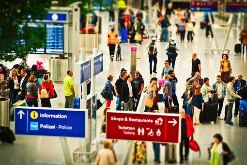 空港, 観光, 飛行, 航空交通, 旅行, 出発, 交通機関, 休日, 人