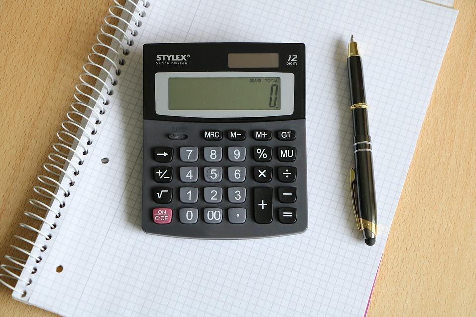 電卓, ペン, ブロック, ビジネス, ホワイト, 文房具, オフィス, 計算する方法, ソーラー電卓