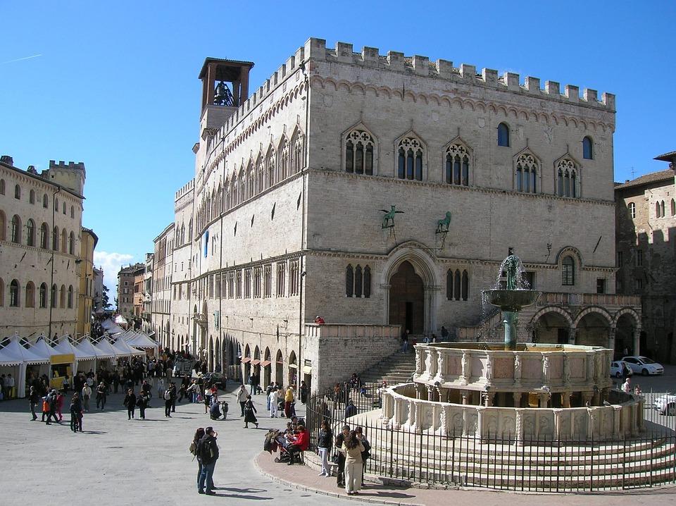 Perugia, Italia, Piazza, Città, Strada, Fontana