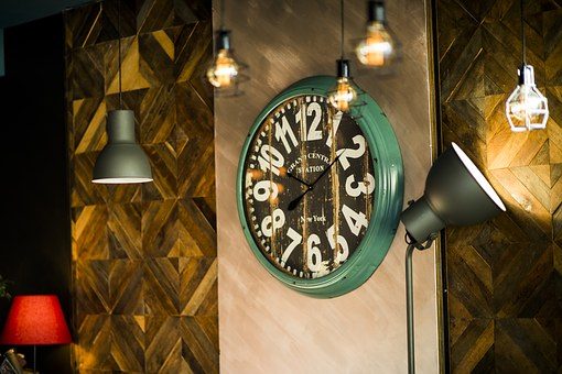Clock, Decoration, Restaurant, Glitter