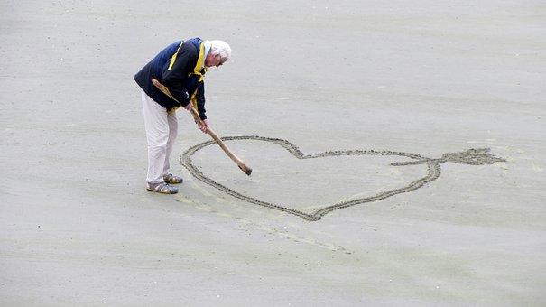 愛, 老人, 中心部, 年金, 情熱, ビーチ, オールディーズ, シニア