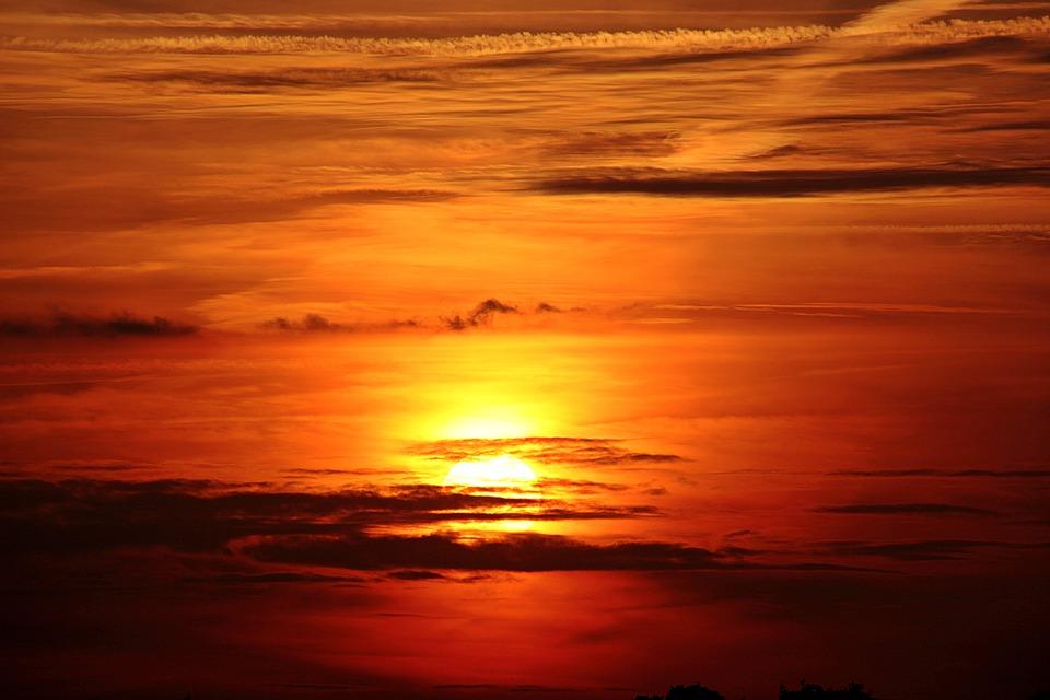 サンセット, 太陽, 雲, 暗い雲, Abendstimmung, 空, 太陽が設定, 夕方の空, 残光