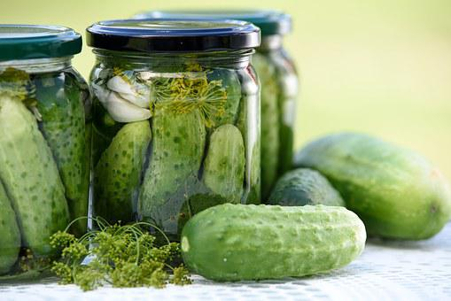 Pickled Cucumbers Homemade Preserves Jars