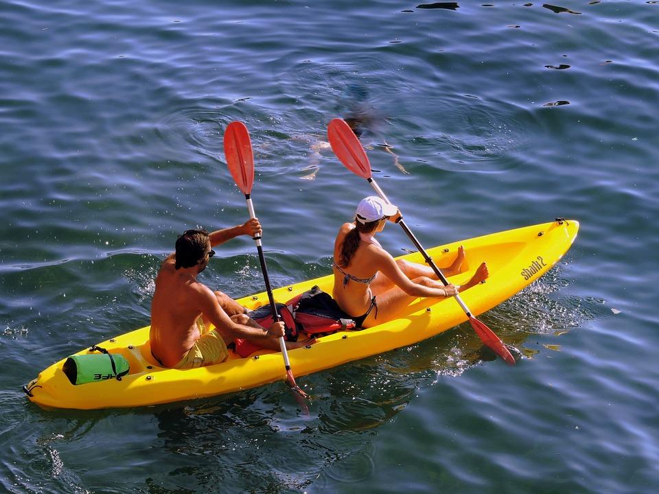 Canoë Kayak, Couple, Rangée, Eau, Remi, Bateau, Mer