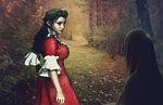 woods, autumn, woman