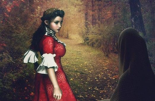 Woods, Autumn, Woman, Girl, Meeting