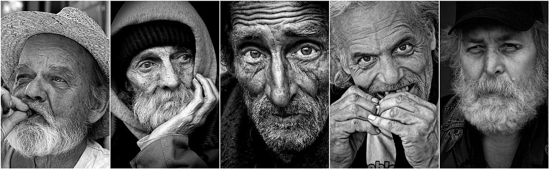 Emberek, Férfi, Öreg Ember, Arcok