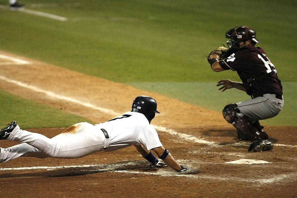 野球, 得点, ホームにスライディング, 再生, プレーヤー, ゲーム, スコア, チーム, スポーツ