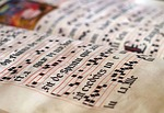 calligraphy, scores, parchment