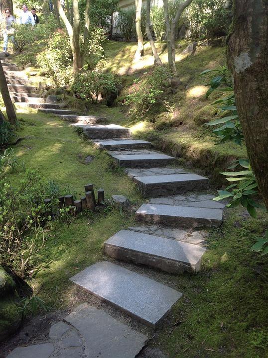 Photo gratuite portland jardin japonais escaliers for Pierre pour jardin japonais
