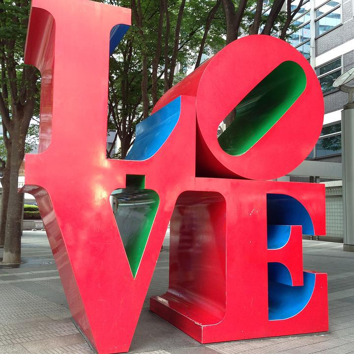 Shinjuku Island Tower Love Word Sculpture Art