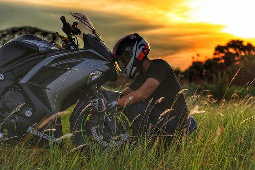 スーパーバイク, カワサキ, 忍者, バイク, バイクに乗る人, ヘルメット
