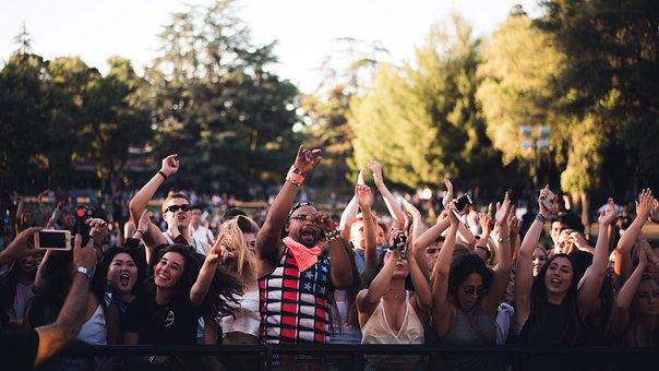 Bühne, Menge, Fans, Leben, Konzert