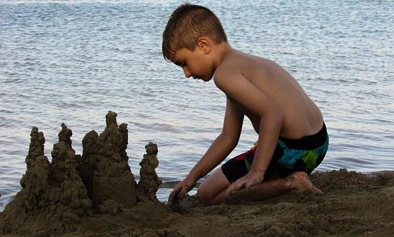 Kid Boy Playing Child Summer Beach Sand Ca