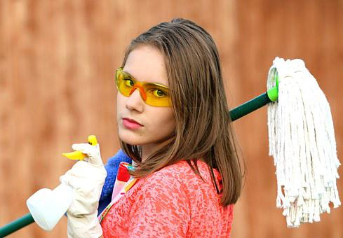 Girl, Glasses, Mop, Cleaning, Clean