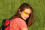 tourist, girl, backpack