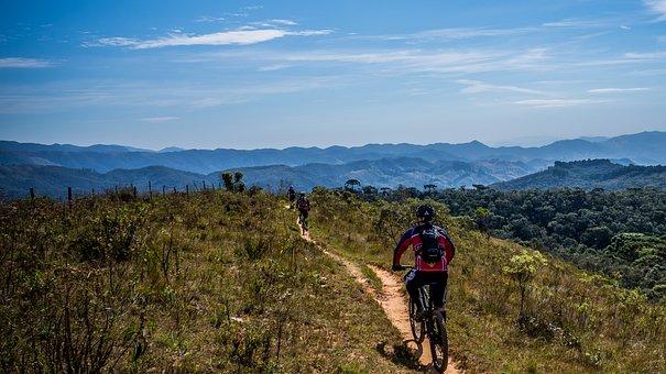 サイクリング, 自転車, トレイル, スポーツ, ソル, 視点, 自然, 休日
