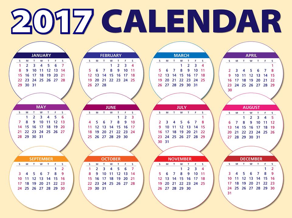 Kalender, 2017, Agenda, Schema