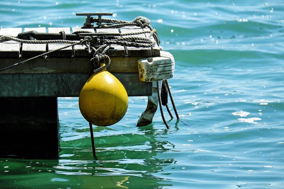 槐, 黄色, プラスチック, 桟橋, ロープ, 水