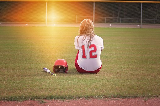 Softball, Player, Girl, Bat, Uniform