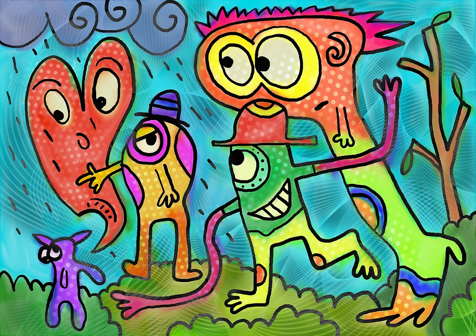painting of colorful monsters