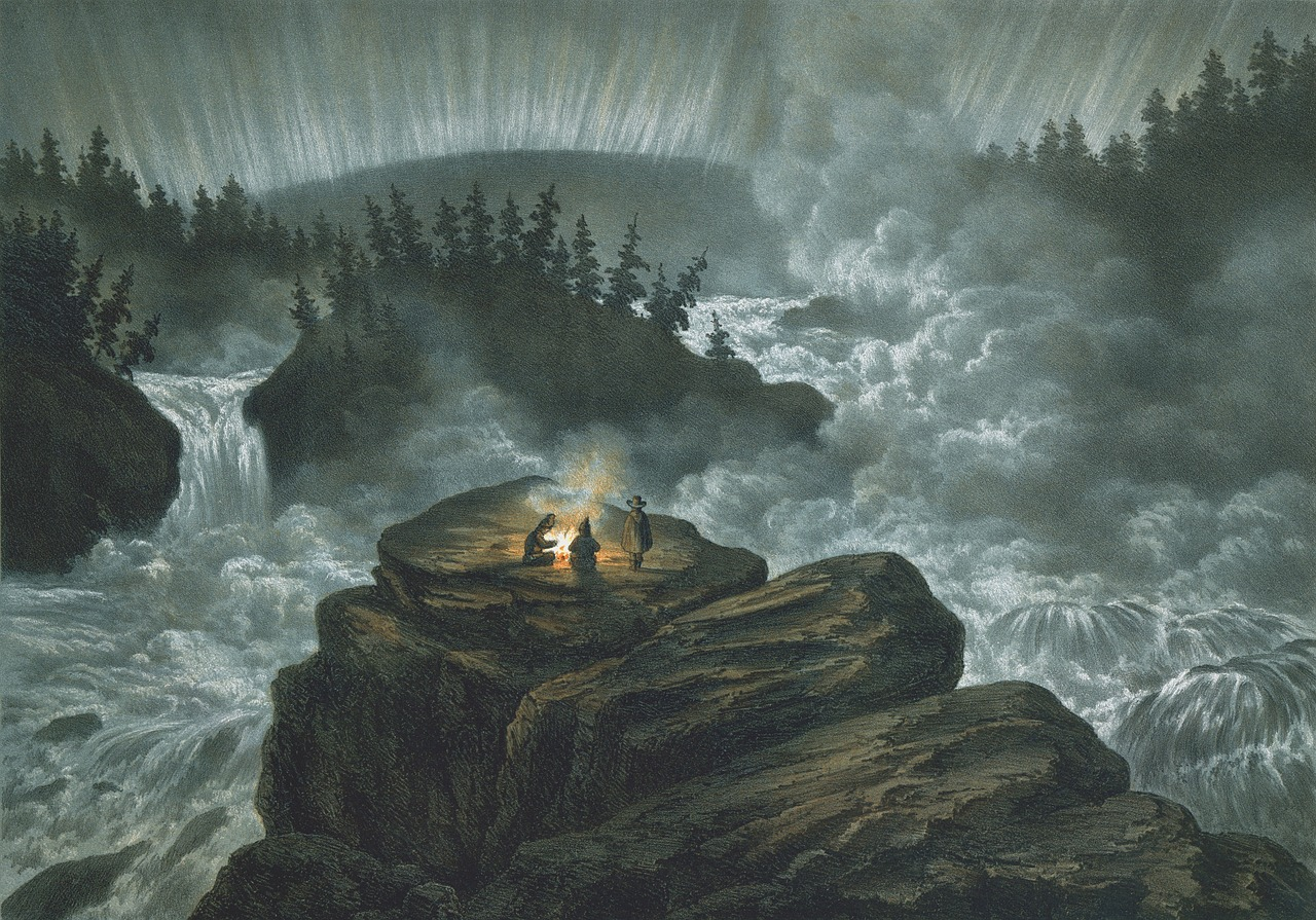 Lithograph of people camping next to raging river