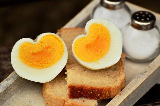 卵, 鶏卵, ゆで卵, 朝食の卵, 心, ハート形, 食品, タンパク質