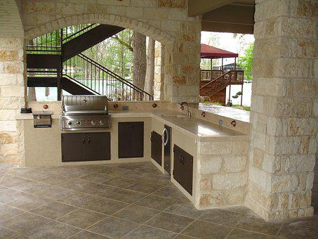 Outdoor Kitchen, Stone, Masonry, Copper