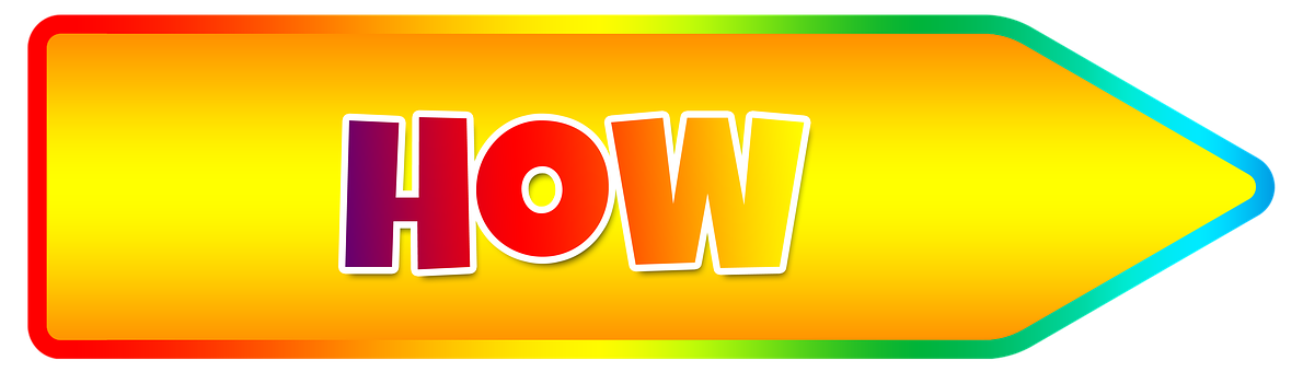 A multi-colored image displaying how with the tip as an arrow pointing right