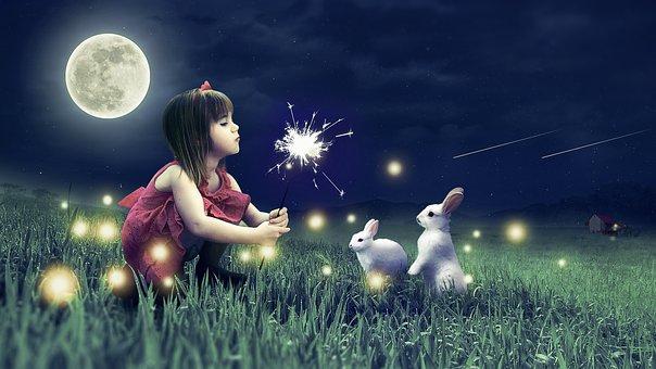Κορίτσι, Νύχτα, Νέος, Ευτυχισμένος