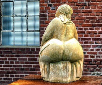 Frau, Skulptur, Sitzen, Po, Hintern
