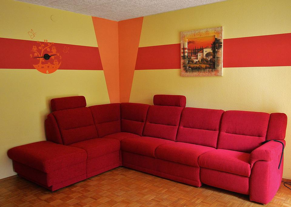 Couch Sofa Rot Wohnzimmer Rotes