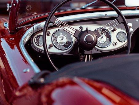 車, ステアリング ホイール, クラシックカー, 転換, 速度計, 赤い車