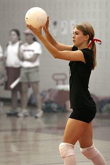 バレーボール, サービスを提供, プレーヤー, 女性, スポーツ, サーブ