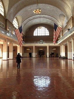 エリス島, 米国, ニューヨーク, 玄関ホール, 入国管理, 駅, フラグ