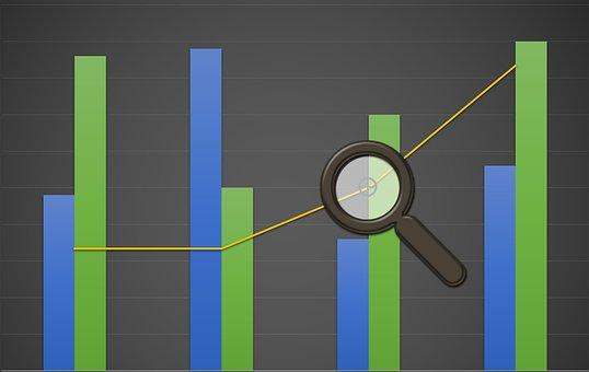 グラフ, 分析, キューブ, バー, 成長, 損失, 利益, ビジネス