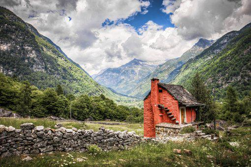 Mountains, Clouds, Cottage, Cabin, Alps