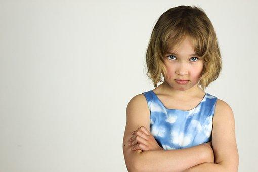 子, 小さな女の子, 怒り, 怒りっぽさ