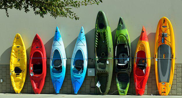 Colorful, Kayaks, For Sale, Water