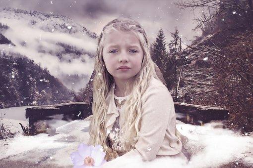 幻想, 女孩, 儿童, 女性, 自然, 肖像, 冬天, 孤独, 悲伤, 寂寞
