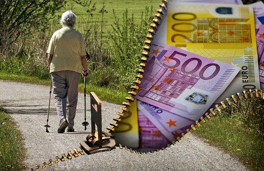 昔の人々, 年金受給者, 年金, お金, 通貨, ユーロ, 現金及び現金同等物