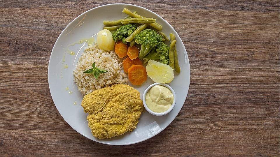 Healthy Food, Chicken, Breaded, Broccoli, Rice