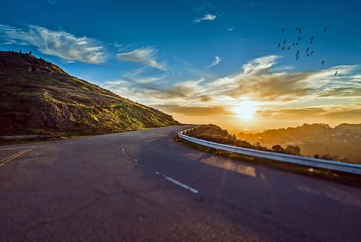 Winding Road, Road, Travel, Sunrise