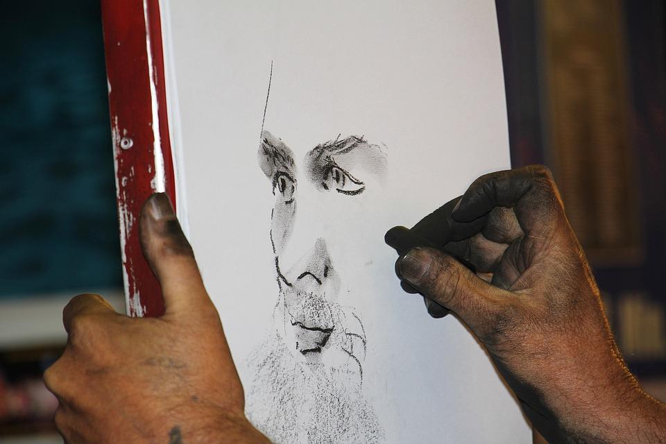 Kohlezeichnung, Kohlestift, Portrait, Profil, Mann